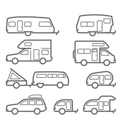 Caravans and camper trailers - road trip icons vector