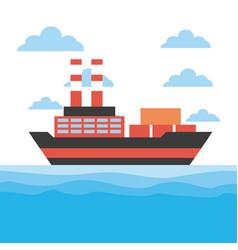 Cargo ship icon vector