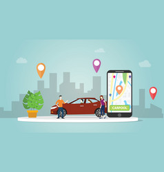 carpool car sharing concept technology for people vector image