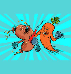 Carrots beats a sausage the victory of vector