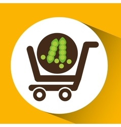 Cart buy vegetable pea icon vector