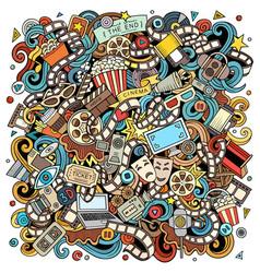 cartoon color funny doodles cinema vector image