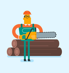 Caucasian white woodcutter working with chainsaw vector