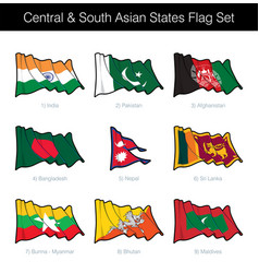 Central and south asian states waving flag set vector