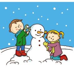 children making a snowman vector image