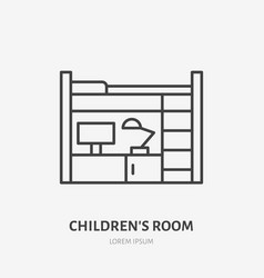childrens bedroom flat line icon apartment vector image