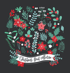 Christmas floral decoration collection set of vector