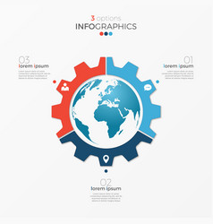 Circle chart infographic template with globe vector