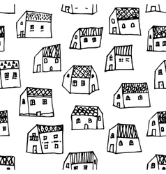 City seamless pattern in black and white is vector image