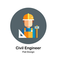 Civil engineer flat icon vector