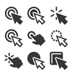 click icons set on white background vector image