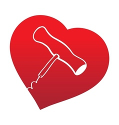 corckscrew on read heart background vector image