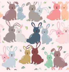 Cute bunny in colorful tone seamless pattern vector