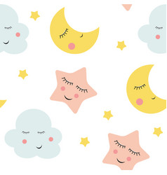 Cute clouds star and moons seamless patter vector