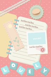 cute pastel notebook and postcard polaroid picture vector image