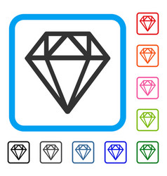 diamond framed icon vector image vector image