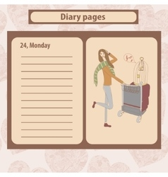 Diary or note pages with of young vector