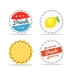 Different bottle caps set flat design vector