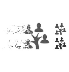 Dissolved pixel halftone genealogy tree icon vector