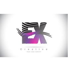 Ex e x zebra texture letter logo design with vector