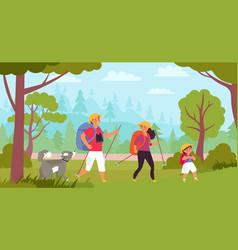 family hiking travelers hike kids trekking vector image