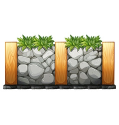 Fence made of rocks and wood vector