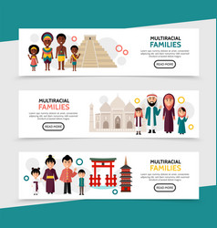 flat multiracial people horizontal banners vector image