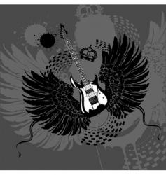 flying guitar vector image