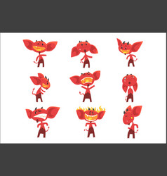 Funny red devil cartoon characters with different vector