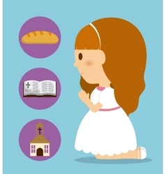 girl kid cartoon bread bible church icon vector image