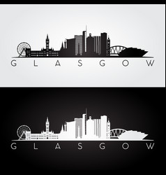 glasgow skyline and landmarks silhouette vector image