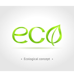 Green word Eco with leaf on gray background vector image