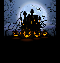 halloween background with scary pumpkins and vector image