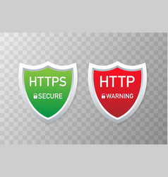 Http and https protocols safe and secure wev vector