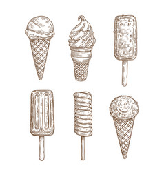 ice cream cones stiks gelato sorbet popsicle vector image
