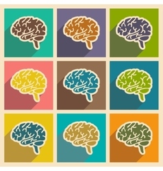 Icons of assembly human brain in flat style vector