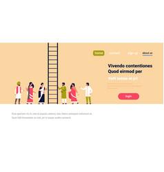 indian people group climbing career ladder new job vector image