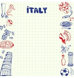 Italy Symbols Pen Drawn Doodles Collection vector image