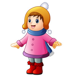 Little happy girl in winter clothes vector
