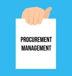 Man showing paper procurement management text vector