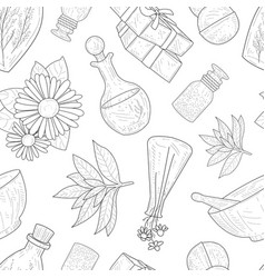 natural cosmetics seamless pattern eco organic vector image