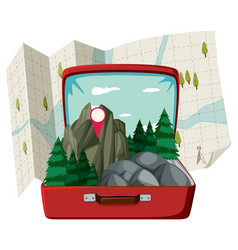 nature forest in the suitcase vector image