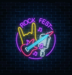 Neon rock festival sign with guitar microphone vector
