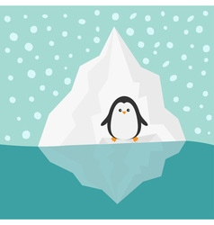 Penguin on iceberg blue water snow in the sky flat vector