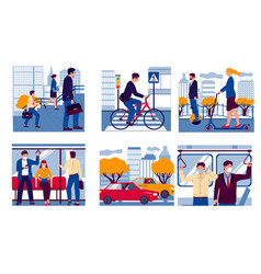 people in transport realistic men and women vector image