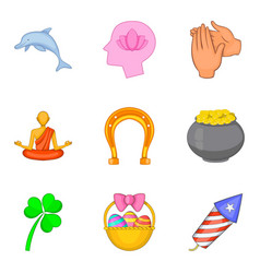 pleasant icons set cartoon style vector image