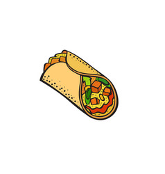 Pop art style burritos sticker vector