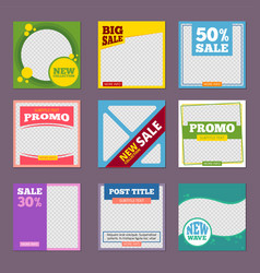 Post template editable promo banners with place vector