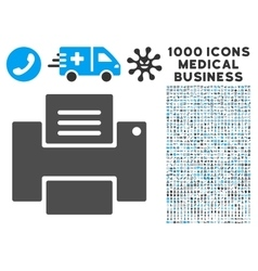 Printer Icon with 1000 Medical Business Pictograms vector image