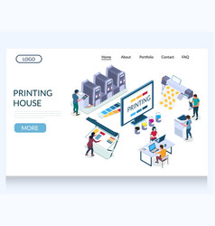printing house website landing page design vector image